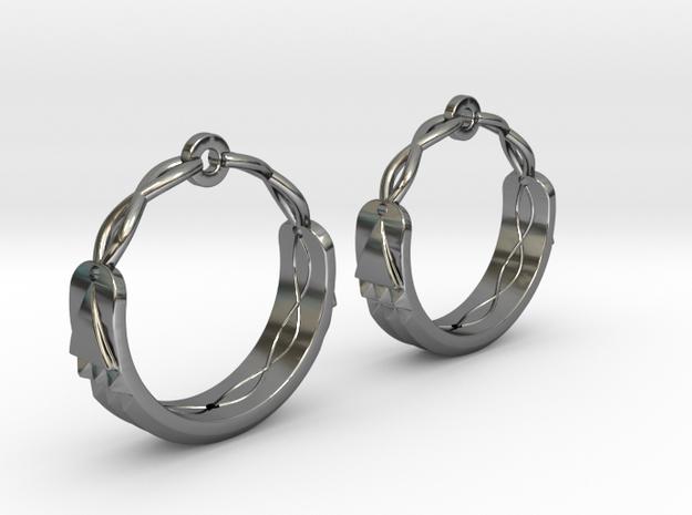 Atlantis Earrings in Fine Detail Polished Silver