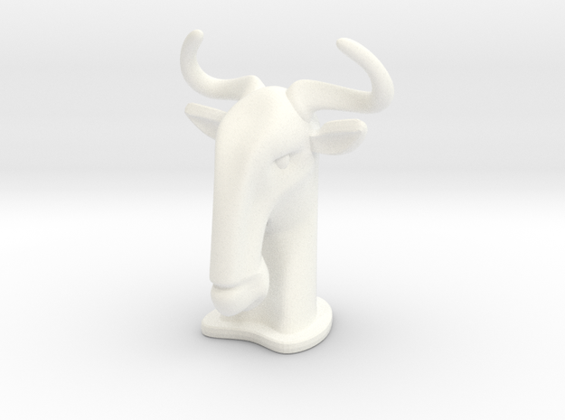 Wildebeest SMALL in White Processed Versatile Plastic