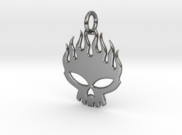 Flaming skull in Polished Silver