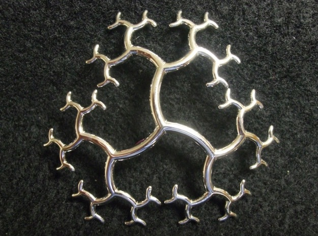 Curved Trivalent Tree Pendant in Rhodium Plated Brass