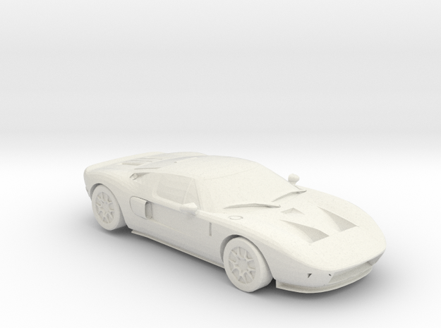 Ford GT Keychain in White Strong & Flexible