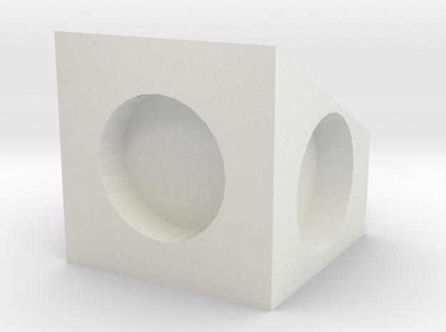 MPConnector - 90 degree Block 1 in White Natural Versatile Plastic