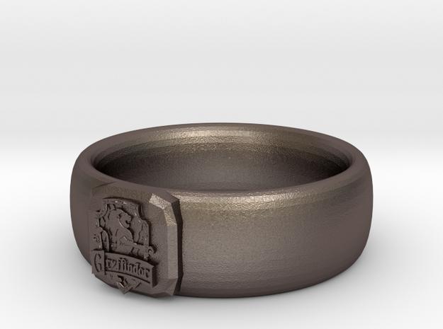 Gryffindor Pride Ring in Polished Bronzed Silver Steel: 7 / 54