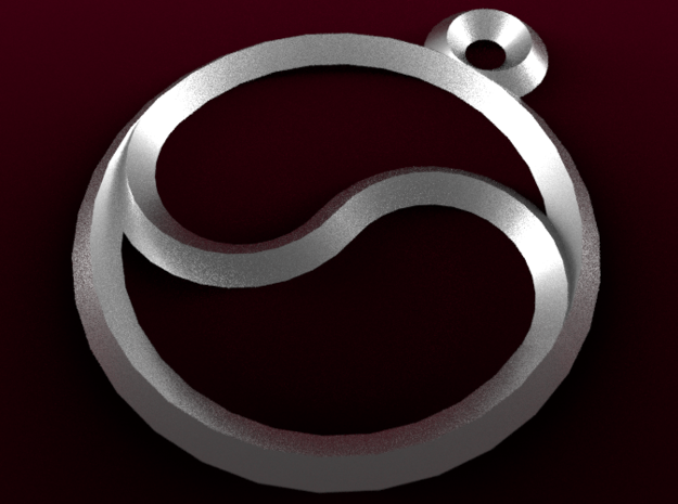 Single Yingyang Pendant in Fine Detail Polished Silver