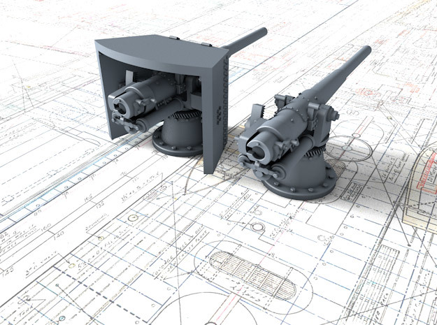 1/350 SMS Emden 10.5cm/40 SK L/40 Guns in Frosted Extreme Detail