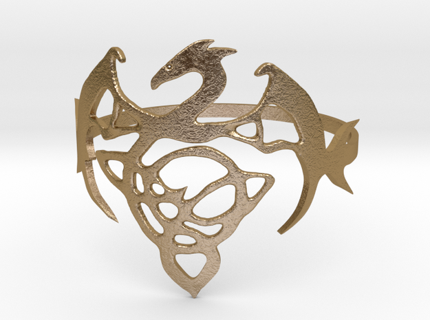 Dragon Ring in Polished Gold Steel
