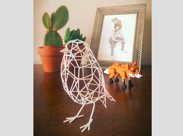 Bird wire frame model (with eyes) in White Strong & Flexible
