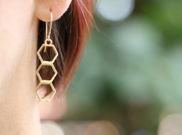 Triple Hex Earrings in Raw Silver