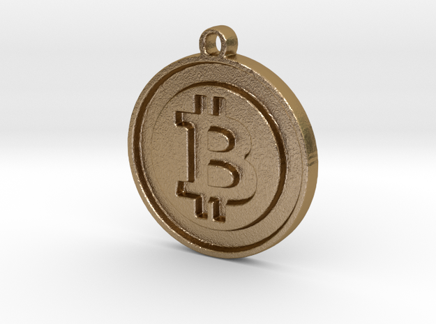 Bitcoin Pendant in Polished Gold Steel