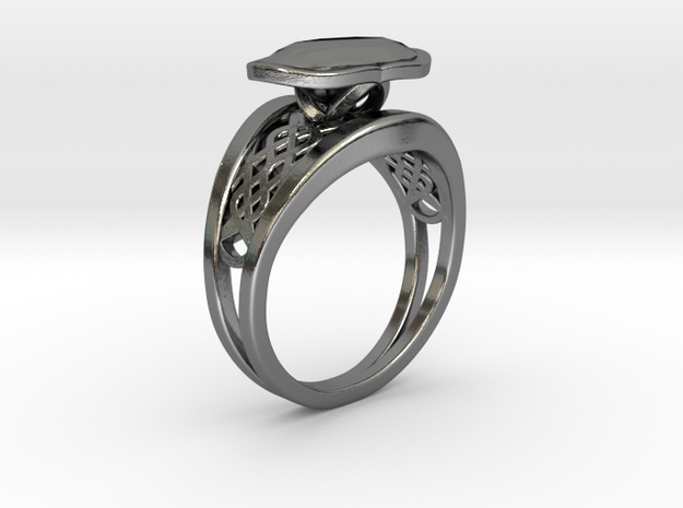Pappus Curve Twin Ring in Fine Detail Polished Silver