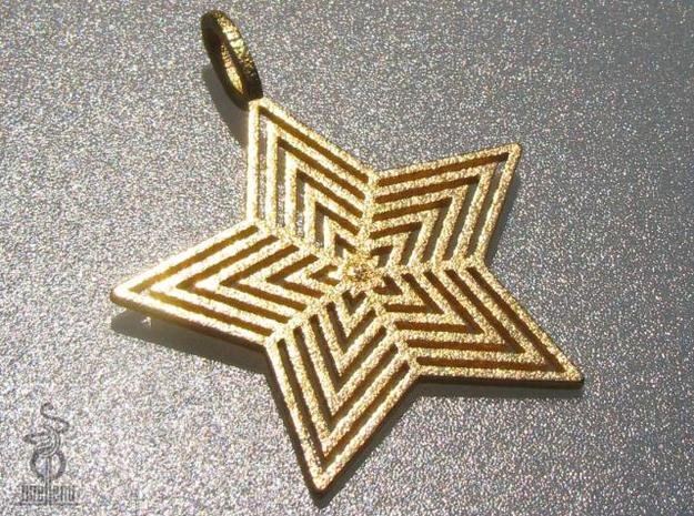 Star Pendant  'Radiant Star' in Polished Gold Steel