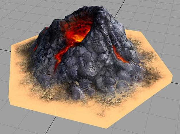 Catan_volcano_hex 3d printed Description