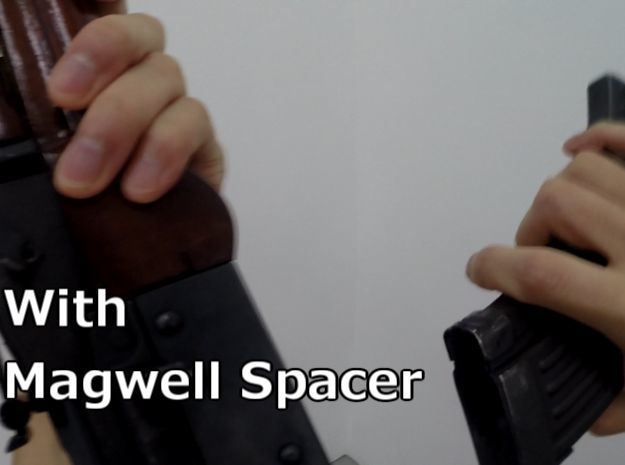 Snap-fit Magwell Spacer for E&L AK in Black Natural Versatile Plastic