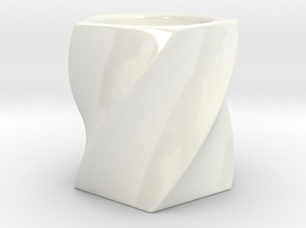 Twisted Tealight Holder in Gloss White Porcelain