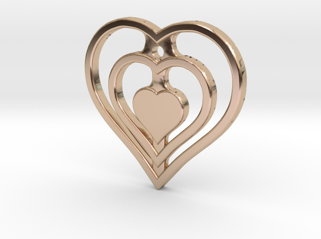 The Hearty Heart (precious metal pendant) in 14k Rose Gold Plated Brass