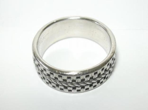 Check Rope ring 17.5mm, US 7 1/4, UK O1/2 in Polished Bronzed Silver Steel