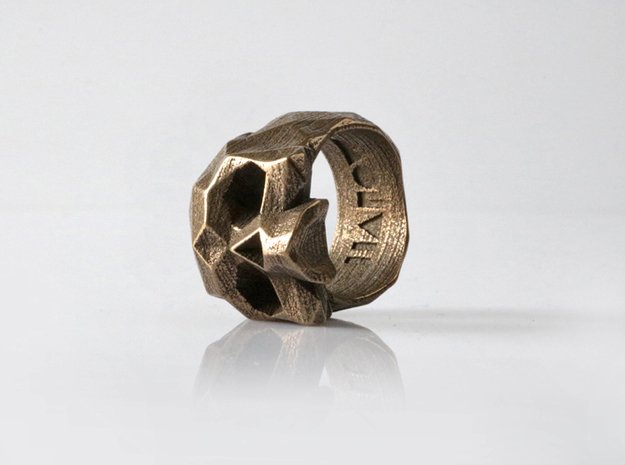 HAROW-SKULL-RING / Size - XS in Polished Bronze Steel