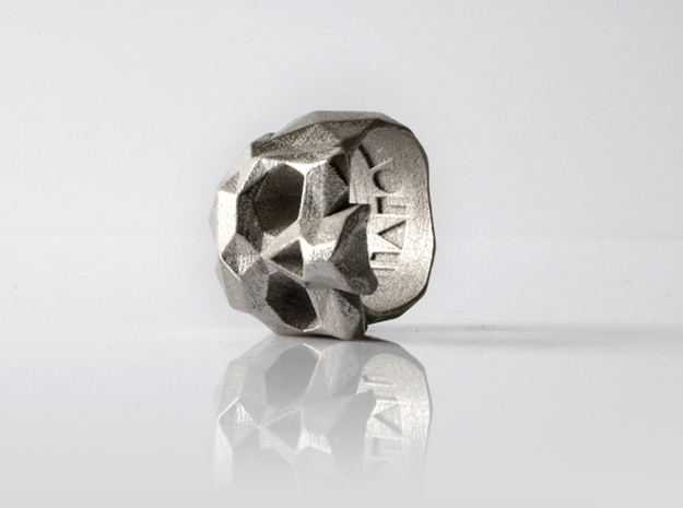 HAROW-SKULL-RING / Size - L in Polished Nickel Steel