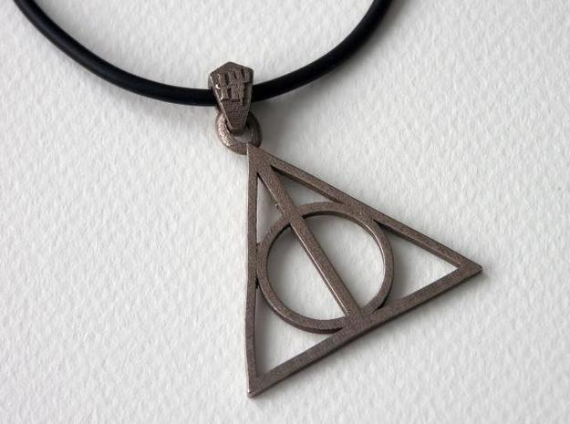 Deathly Hallows Pendant 3d printed Stainless Steel 2