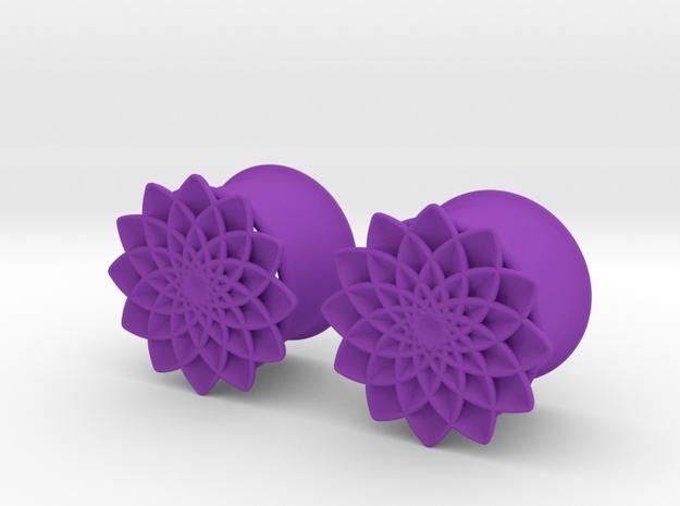 "5/8"" ear plugs 16mm - Flowers 12 petals in Purple Strong & Flexible Polished"