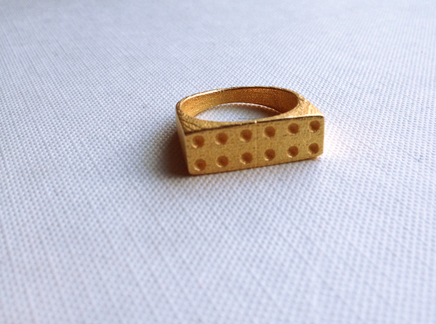 Domino Ring 3d printed Polished Gold Steel