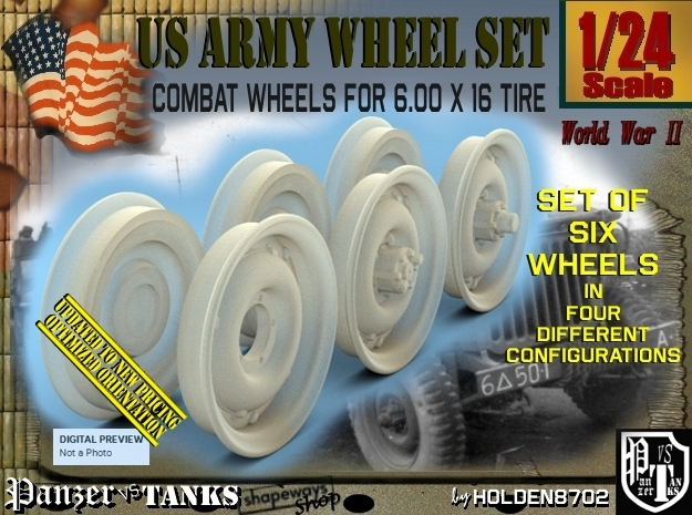 1/24 RIMS for tire 600x16 Set001 in Frosted Ultra Detail