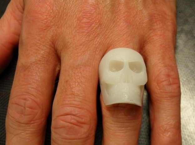 High Detail Skull Ring with Attitude (Men's or Wom in White Natural Versatile Plastic