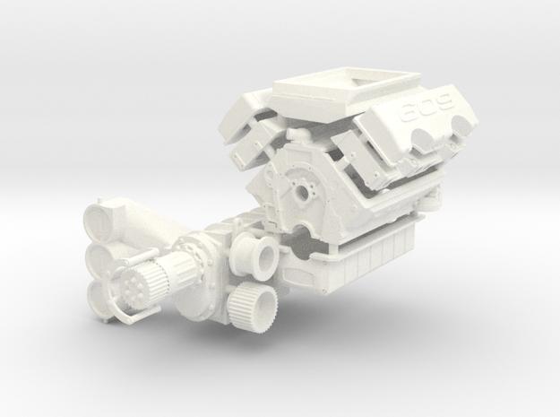 Brodix 1/12 609 Engine 14-71 Blower in White Processed Versatile Plastic