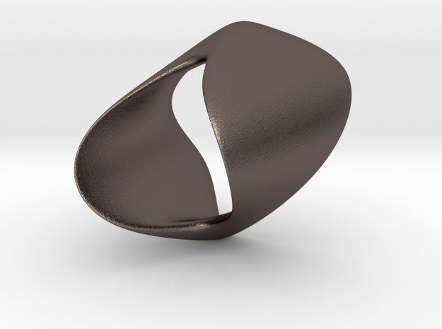 Curve Twist Ring in Polished Bronzed Silver Steel