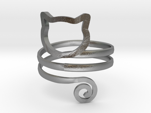 Cat Wrap Ring in Natural Silver: 7 / 54