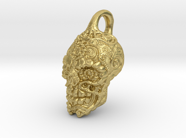 Mayan skull pendant in Natural Brass