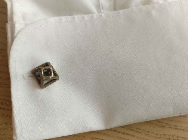 Square Cufflink Twisted in Polished Bronze Steel