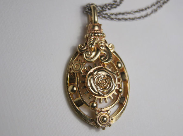 Botanika Mechanicum Pendant in Natural Brass