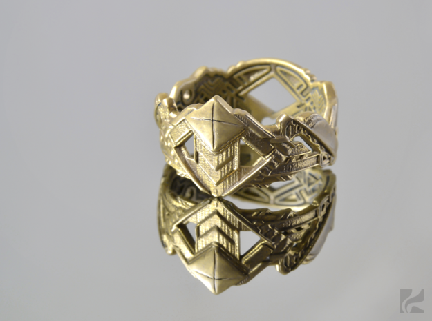 Art Deco Ring #1 in 14k Gold Plated: 6.5 / 52.75