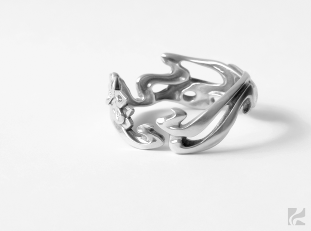 Calla Lilies Ring in Rhodium Plated Brass: 6.5 / 52.75