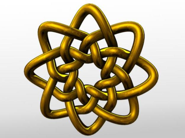 Celtic Knots 05 (small) 3d printed Rendered in gold.