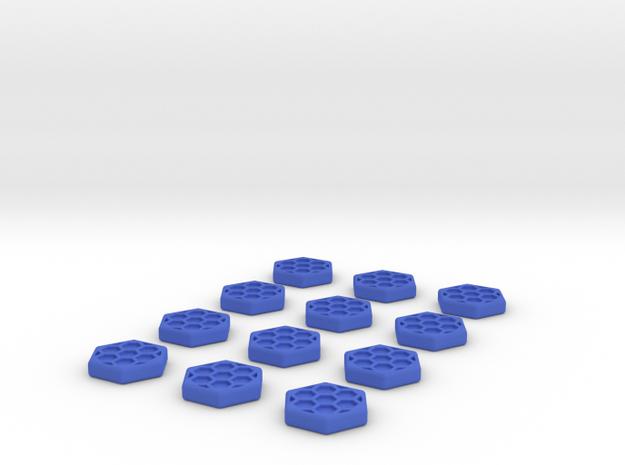 Shield Tokens  in Blue Processed Versatile Plastic