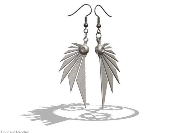 Bladewing Earrings - Fish Hooks 3d printed Render