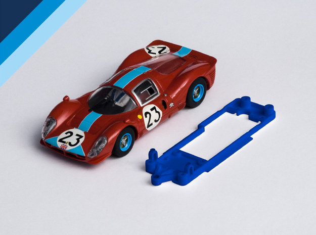 1/32 Scalextric Ferrari P4 Chassis for Slot.it SW  in Blue Strong & Flexible Polished