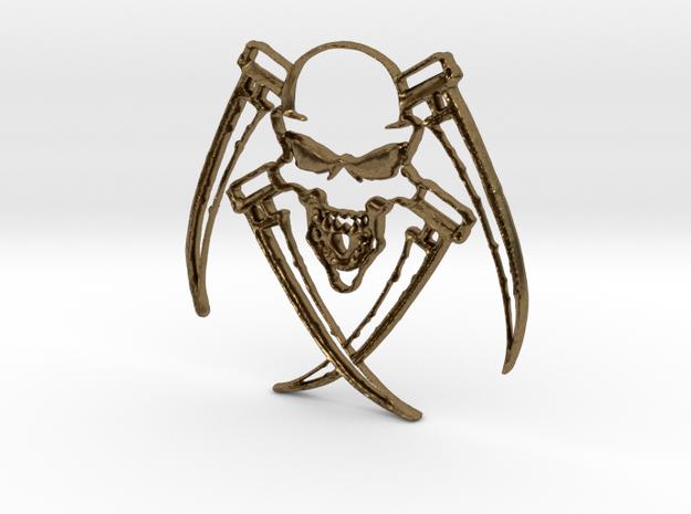skull Pendant in Raw Bronze: Medium