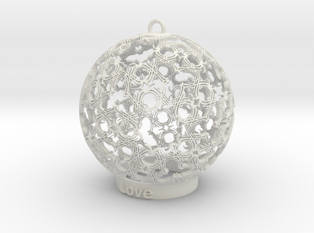 love Ornament in White Strong & Flexible: Small