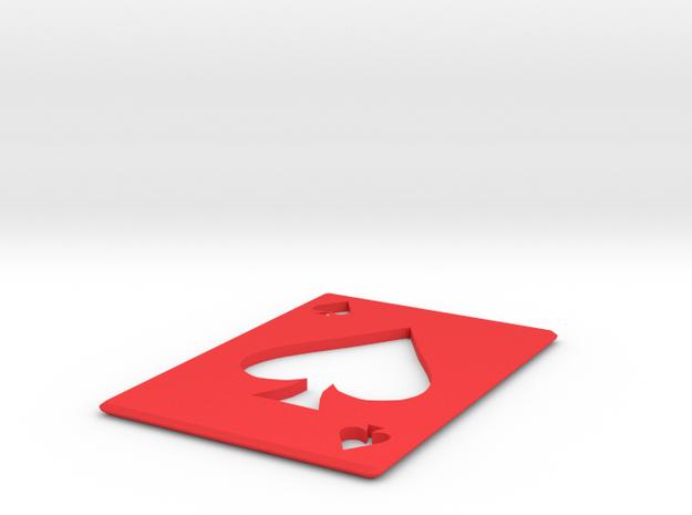 Throwing Card Spades in Red Processed Versatile Plastic