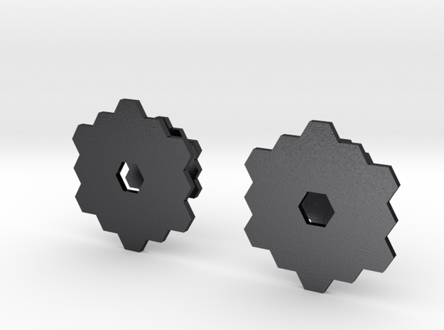James Webb Space Telescope Cuff Links in Polished and Bronzed Black Steel