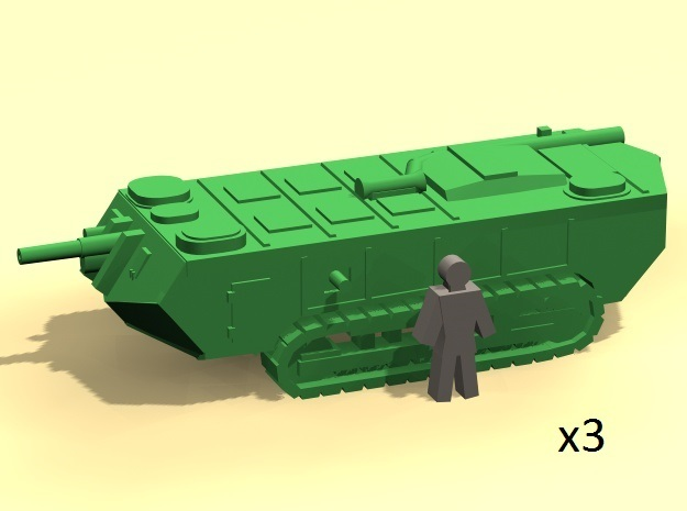 6mm WW1 Saint Chamond tank - early x3 in Smoothest Fine Detail Plastic
