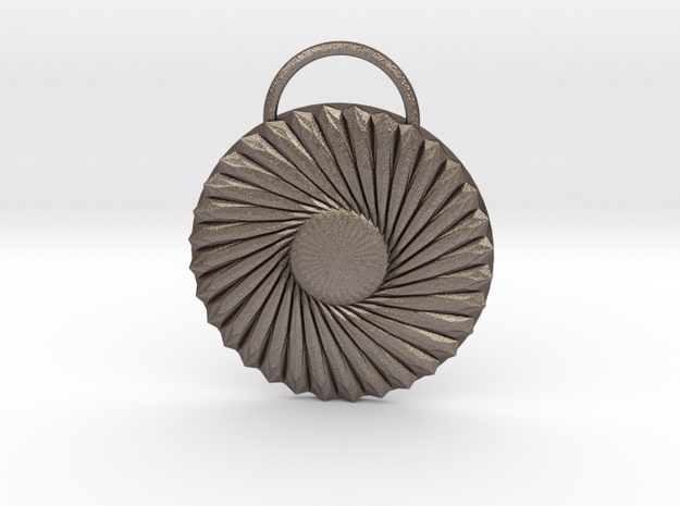 Twisted Daisy Medallion in Polished Bronzed Silver Steel