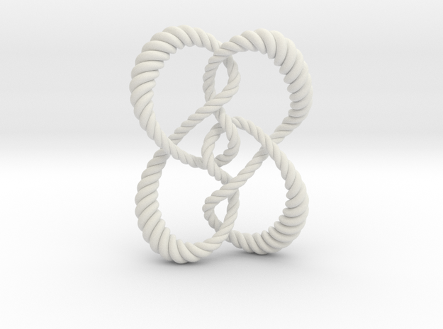 Symmetrical knot (Rope) in White Natural Versatile Plastic: Extra Small