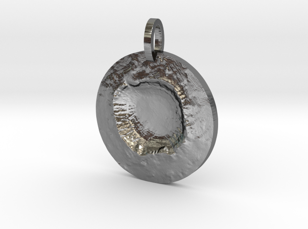 Meteor Crater Map Pendant, Circle Cut in Polished Silver