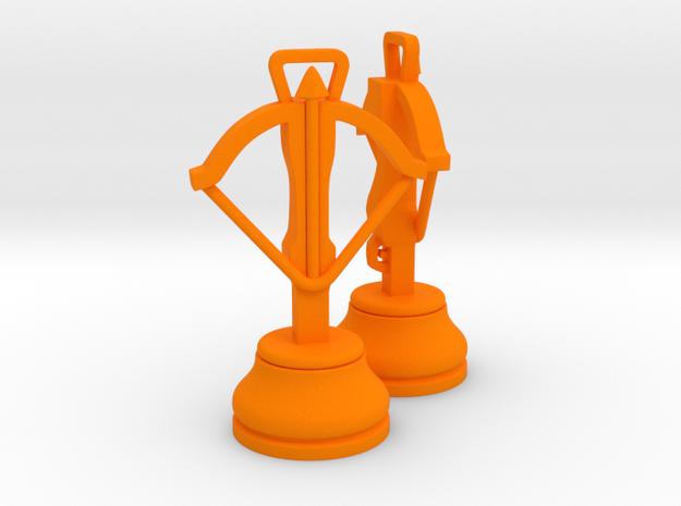 Pair Chess Crossbow / War Machine / Dabbabah  in Orange Processed Versatile Plastic