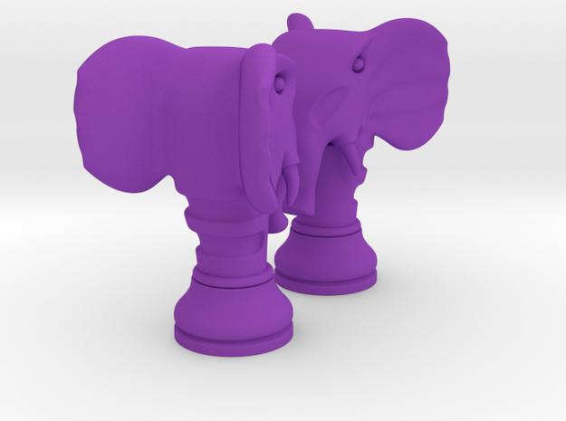 Pair Chess Elephant Big / Timur Pil Phil in Purple Processed Versatile Plastic