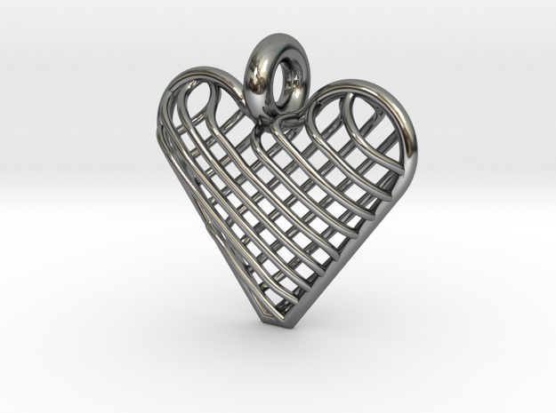 Latticed Heart Pendant in Fine Detail Polished Silver
